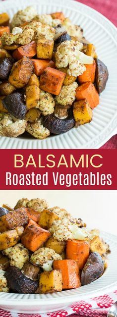 Balsamic Roasted Vegetables - this easy side dish recipe for roasted veggies with balsamic vinegar is healthy and tasty. Also gluten free, low carb, vegan, or paleo friendly.