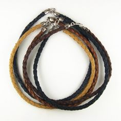 Braided leather choker necklace with metal tulip caps and ring clasp