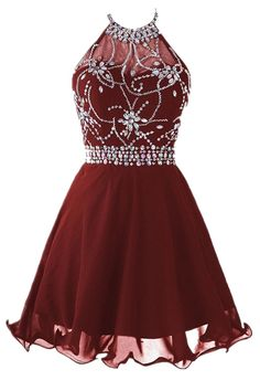 Cute Halter Short Backless Chiffon Burgundy Homecoming Party Dress with Beading