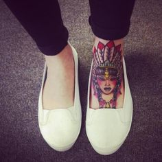 Tattoo - Native - Indian - Traditional tattoo.. when I was little I always wanted to tattoo my foot with a native American face.