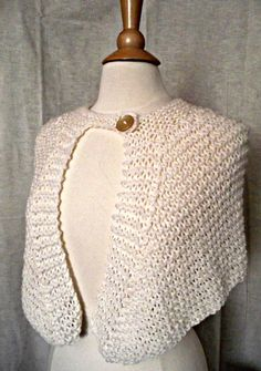 Hand Knit Shorty Cape Winter White Wool Shawl Wrap by knitme1