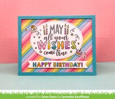 Fawny Summer Week {Day 4} - Lawn Fawn Subtle Background, Beautiful Birthday Cards, Leaf Stencil, Paper Craft Making, Lawn Fawn Stamps, Rainbow Paper, Happy Design, Birthday Messages, Hello Everyone