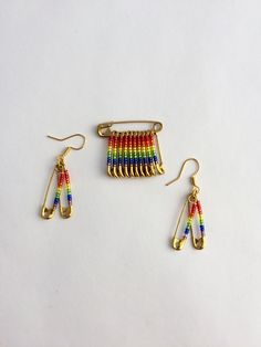 Pride Rainbow Beaded Pin and Earring Set/Beaded Safety Pin Earrings /handmade/ gift for him /gift for her/ birthday/LGBTQ pin by FlagPinsbyAnnette on Etsy