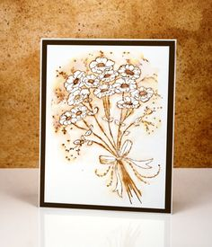 handmade card; Vintage Jubilance by Heather Telford ... stamped with Distress Ink ... pulled color from lines outwards ... delightful card! ... Penny Black stamp ...