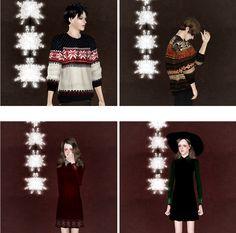"malsun: ""happy new year collaboration 2p [simsimi] nubim unbalanced shirt : download [ppomi] snowflake H skirt : download [bed] bedisfull christmas gift pants : download [malsun] male mtm : download ..."