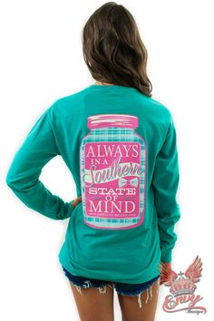 """Jadelynn Brooke Southern Tshirt - How adorable is this""""Southern State Of Mind"""" tshirt, straight from Jadelynn Brooks new fall collection! This southern apparel line is perfect for all ofyou southern belles that wish to stay cute and comfy! This long sleeveshirt features a back design as well as the Jadelynn Brooke signature logo on the front. Best part? It comes in a beautiful seafoam green!  