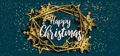 Merry Christmas With Geometric Landscape Background