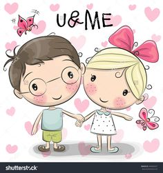 Cute Cartoon Boy And Girl Are Holding Hands On A Heart Background Banco de ilustração vetorial 440404327 : Shutterstock
