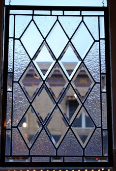 Antique Diamond Beveled Stained Glass Window  Restored by rneely, $179.00