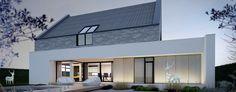 """Dom """"2w1"""" to projekt willi zlokalizowanej w wiejskim krajobrazie podwrocławskich Żernik. Architektura budynku oparta jest na dwóch przenikających się bryłach – tradycyjna w formie stodoła i parterowy biały prostopadłościan. Koncepcję opracował zespół JABRAARCHITECTS."""
