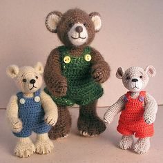 Bears in minature - free crochet pattern, Ravelry download