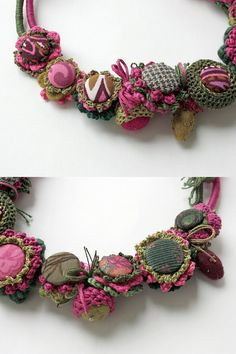 Green fuchsia crochet necklace with fabric buttons by rRradionica, $148.00