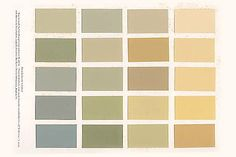 Vintage paint colors circa 1910. The bluish-gray in the bottom left corner reminds me of a color I found underneath layers of paint on an old door in my house that was built in 1911!