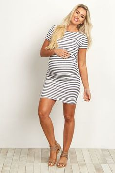 Ivory-Navy-Blue-Striped-Fitted-Short-Sleeve--Dress #PregnancyOutfits