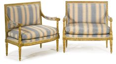 A pair of Louis XVI carved giltwood marquises circa 1780-1785. Sotheby's