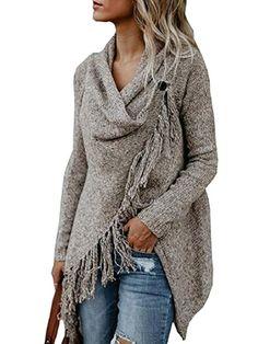 34 Lovable Single Button Tassel Asymmetrical Hem Shawl for You #Outfit  http://seasonoutfit.com/2018/01/01/34-lovable-single-button-tassel-asymmetrical-hem-shawl-for-you/ #sweatersforwomen