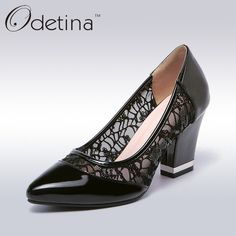 24.24$  Buy now - http://ali0n5.shopchina.info/1/go.php?t=32785920484 - Odetina Sexy Black Lace Women Pointed Toe Basic Pumps Fashion Ladies Thick High Heels 2017 Spring New Women Party Dress Shoes  #magazineonlinebeautiful