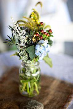 simple flowers in a mason jar