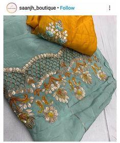 Fancy Dress Design, Stylish Blouse Design, Stylish Dress Designs, Designs For Dresses, Punjabi Suits Designer Boutique, Boutique Suits, Indian Designer Suits, Embroidery Suits Punjabi, Embroidery Suits Design