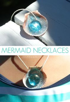 Mermaid Necklaces. Make homemade sparkly mermaid necklaces using seashells, glitter glue, and glass gems. So cute and perfect for creative play for kids.