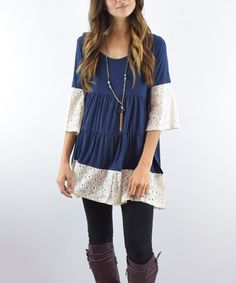 Loving this Navy Crochet-Accent Tiered Tunic on #zulily! #zulilyfinds