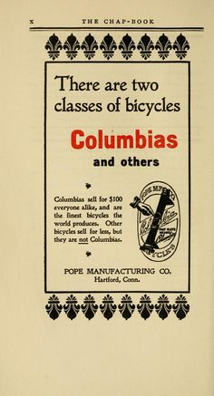 Columbia bicycles. The Chap-book; semi-monthly, 1896.