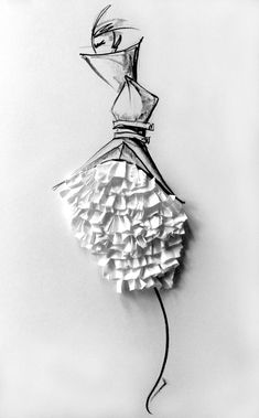 Fashion illustration - mixed media fashion drawing with paper ruffle textures