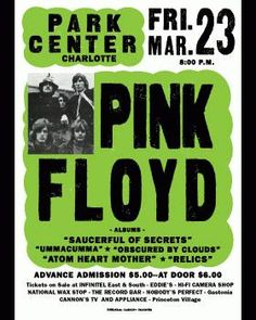 Reprint letterpress concert poster for Pink Floyd at Club Paradise in Charolette, NC in 1973