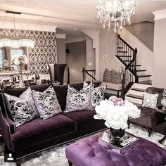 Purple home decor ideas living room and grey themed interior lighting design for roo Gothic Living Rooms, Home Interior, Interior Design Living Room, Living Room Designs, Living Spaces, Interior Decorating, Decorating Ideas, Decor Ideas, Decorating With Purple