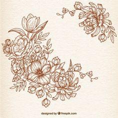 Flores dibujadas a mano en estilo retro Vector Gratis