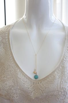 Introducing the Knot Me collection - you can wear this necklace in different ways as a scarf. Try the simple over hand way (as on mannequin in the Lariat Necklace, Gold Pearl, Knots, Turquoise Necklace, Pearls, Pendant, Simple, How To Wear, Handmade