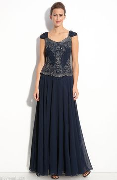 J Kara Navy Blue Beaded Mock Two-Piece Chiffon Formal Dress + Wrap NWT Size 16