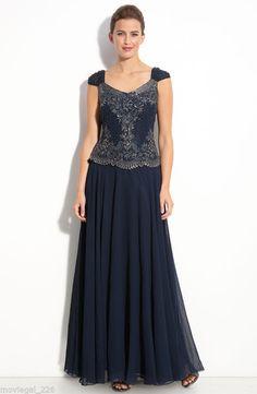 J Kara Navy Blue Beaded Mock Two-Piece Chiffon Formal Dress + Wrap NWT Size 16