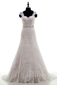 Fashion+Queen+Anne+Train+Lace+Ivory/Pink+Sleeveless+Wedding+Dress+with+Beading+LWZT15042