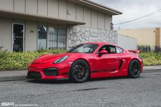 Is the Cayman GT4 the agile athlete that every other sports car secretly wishes it could be? Steve's awesome Guards Red Porsche Cayman GT4 is track-prepped by California's SP Motorsports! It's equipped with Michelin Pilot Sport Cup 2 tires (265/35ZR19 & 295/30ZR19), and 19x9/19x10.5 Forgeline one piece forged monoblock GA1R Open Lug Cap Edition wheels finished in Graphite! See more at: http://www.forgeline.com/customer_gallery_view.php?cvk=1745