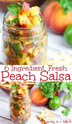 This 6 Ingredient simple, easy and healthy f The Best Fresh Peach Salsa recipe. This 6 Ingredient simple, easy and healthy f.The Best Fresh Peach Salsa recipe. This 6 Ingredient simple, easy and healthy f. Peach Salsa Recipes, Fresh Peach Recipes, Summer Recipes, Peach Recipes Dinner, Fresh Salsa Recipe, Salt Free Salsa Recipe, Shrimp Salsa Recipe, Margarita Recipes, Clean Eating
