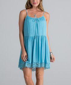Another great find on #zulily! Slate Blue Lace Sleeveless Dress #zulilyfinds