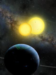 Lynette Cook's artful rendition of the Kepler-35 planet system (credit: L. Cook)