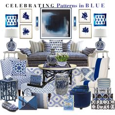Celebrating Patterns in Blue by aprimmdesign on Polyvore featuring polyvore, interior, interiors, interior design, home, home decor, interior decorating, Kim Salmela, Safavieh, Madison Park, CFC, Steven Shell, Barclay Butera, LBL Lighting, Bashian, Objekten, Surya, Ethan Allen, Soicher Marin, Colonial Mills, Charles Philip Shanghai, Fendi and Olympia Le-Tan