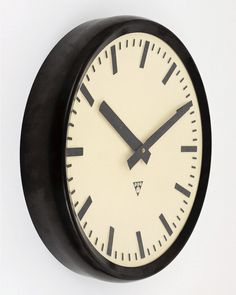 Things that inspire us: a 1940s Bakelite industrial train station wall clock | #1940s #clock #clocks #vintageclock #wallclock #industrial #antique #rare #luxury #coolstuff #decor #vintagedecor #thingsthatinspireus #retro #vintage #vintagestyle #classic #classicdesign #design #timeless #classicstyle #bestofinstagram #horology #timepiece