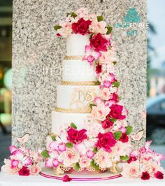 """Majestic Blooms"" -5 tier Wedding Cake"