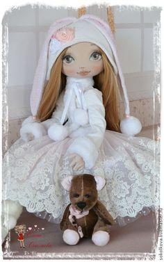 Купить Для Эмилии - белый, кукла, для девочки, подарок, именины, нежно-розовый, кукла с мишкой