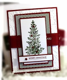 Stampin Up Lovely As a Tree, Handmade Christmas Card Stamped Christmas Cards, Homemade Christmas Cards, Christmas Cards To Make, Christmas Greeting Cards, Greeting Cards Handmade, Homemade Cards, Handmade Christmas, Holiday Cards, Stampin Up