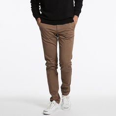 MEN ULTRA STRETCH SKINNY FIT CHINO FLAT FRONT PANTS, BROWN, large