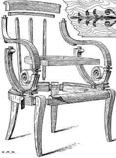 Vue éclatée du Fauteuil Louis Philippe