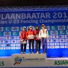 #UB2015fencing Women's Foil Individual 1. Shaito Mona (LIB) 2.Kim Hyeji (KOR) 3. Cheng Hsin (TPE)  3.Lee Sejoo (KOR)  #fencing #asian #u23 #championships by fencing_fie