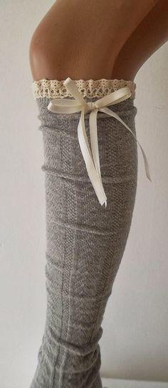 Grey High Knee Boot Socks