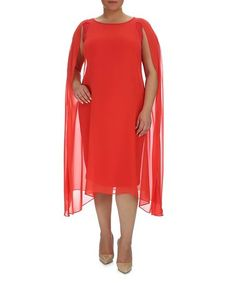 Look at this #zulilyfind! Mandarin Asymmetric Hem Cape-Sleeve Dress #zulilyfinds