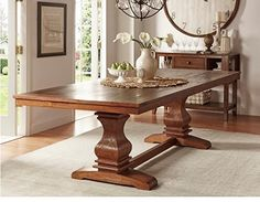 French Country Dining Table Large Pedestal Extendable Leaf Style
