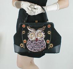 60s Vintage Fabulous BIG Bejeweled Owl Handbag/Purse - from my sold archives at denisebrain.com